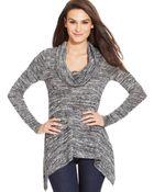 DKNY Jeans Long-Sleeve Marled-Knit Asymmetrical Sweater - Lyst