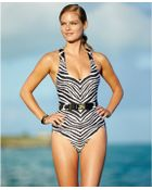 Michael Kors Michael Animal-Print Belted One-Piece Swimsuit - Lyst