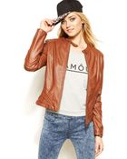 Jou Jou Faux-Leather Moto Jacket - Lyst