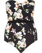 River Island Black Floral Print Mesh Detail Swimsuit - Lyst