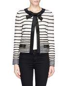 St. John Satin Bead Trim Bow Stripe Jacket - Lyst