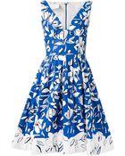 Oscar de la Renta Flower-Print Flared Dress - Lyst