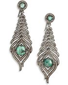Bavna Emerald, Champagne Diamond & Sterling Silver Feather Drop Earrings - Lyst