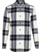 River Island Ecru Check Oversized Shirt - Lyst