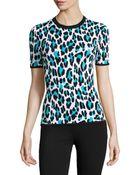 Michael Kors Short-Sleeved Leopard-Print Sweater - Lyst