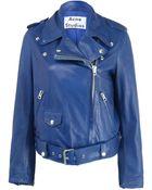 Acne Studios Mape Belted Leather Biker Jacket - Lyst