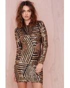 Nasty Gal Dress The Population Savannah Sequin Dress - Lyst
