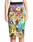Milly Tropical-Print Pencil Skirt - Lyst