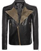 Alexander McQueen Zip Collar Leather Jacket - Lyst