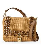 Dolce & Gabbana Embellished Raffia Shoulder Bag - Lyst