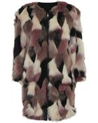 Nina Ricci Reversible Faux Fur Coat - Lyst