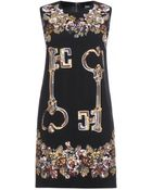 Dolce & Gabbana Embellished Crepe Dress - Lyst