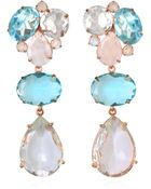 Bounkit Blue Quartz, Clear Quartz, And Moonstone Earrings - Lyst