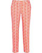 J.Crew Cafã© Embroidered Cotton-Blend Capri Pants - Lyst