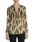 Rachel Zoe Paige Ikat Print Stretch-Silk Blouse - Lyst