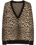 Balmain Leopard-Intarsia Stretch-Knit Sweater - Lyst