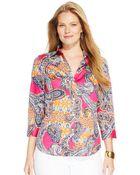 Lauren by Ralph Lauren Plus Paisley-Print Cotton Shirt - Lyst