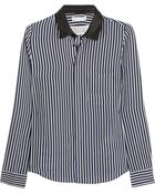 Each X Other Leather-Trimmed Striped Silk Shirt - Lyst