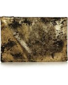 Clare V. Oversize Metallic Leather Clutch - Lyst