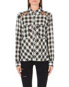Free People Plaid Print Shoulder Lace Shirt - Lyst