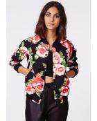 Missguided Milliee Floral Print Bomber Jacket - Lyst