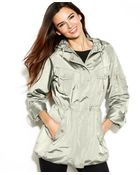 Jones New York Hooded Rolltabsleeve Raincoat - Lyst