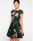 Ted Baker Skater Dress In Palm Print - Lyst