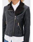 Love 21 Faux Shearling Moto Jacket - Lyst