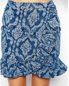 Asos Denim Premium Jacquard Frill Skirt - Lyst