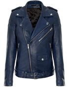 BLK DNM Ink Blue Leather Jacket 8 - Lyst