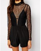 Oh My Love Victoriana Lace Romper - Lyst