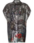 Mary Katrantzou Printed Metallic Blouse - Lyst