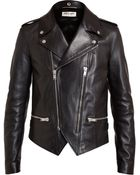 Saint Laurent Classic Leather Biker Jacket - Lyst