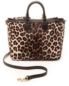 Tory Burch Robinson Leopard Haircalf Square Tote - Snow Leopard - Lyst