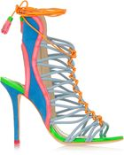 Sophia Webster Lacey Baby Color-Block Suede And Patent-Leather Sandals - Lyst