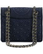 Tory Burch Fleming Quilted Denim Flap Bag - Lyst