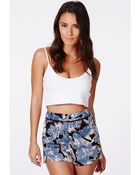 Missguided Tasca Silky Feel Floral Print Shorts - Lyst