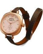 Shinola The Gomelsky Rose Golden Watch With Double-Wrap Leather Strap - Lyst
