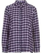 Topshop Checked Pyjama Shirt - Lyst