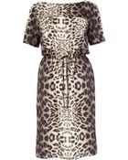 River Island Brown Leopard Print Waisted Tshirt Dress - Lyst