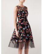Oscar de la Renta Floral Embroidered Tulle Dress - Lyst