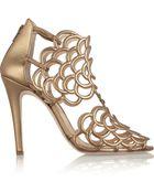 Oscar de la Renta Gladia Cutout Leather Sandals - Lyst