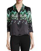 Versace Zigzag Half-Button Blouse - Lyst