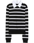 Alice + Olivia Wool Sweater With Cotton Collar - Lyst