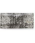 Kenneth Cole Reaction Black & Leopard Print Elongated Clutch Wallet - Lyst