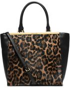 Michael Kors Lana Leopard-Print Hair Calf And Leather Tote - Lyst