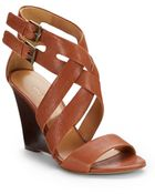 Nine West Mauren Leather Wedge Sandals - Lyst