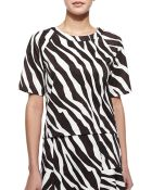 MICHAEL Michael Kors Ghanzi Zebra-Print Short-Sleeve Top - Lyst