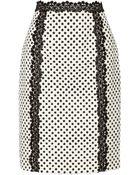 Oscar de la Renta Polka-Dot Cotton-Blend Pencil Skirt - Lyst