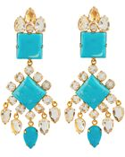 Bounkit Faceted Clear Quartz And Turquoise Earrings - Lyst
